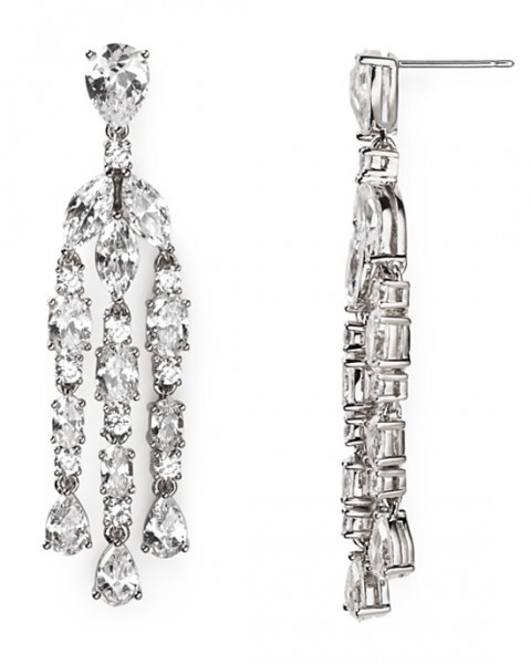 Nadri Slim Long Chandelier Earrings