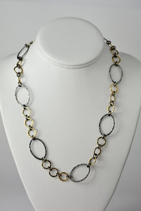 Rebecca Bourke Jewelry Two Toned 14kt Gold Fill and Oxidized Sterling Silver Oval Hammered Chain Necklace