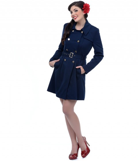 Unique Vintage Navy Double Breasted Belted Trench Coat